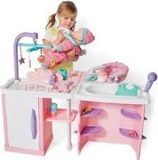 baby doll nursery play set baby bath change table feeding chair 75