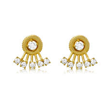 gold studs sterling silver gold plated stud earrings with five fan