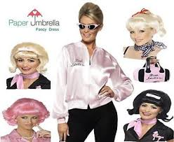 grease pink ladies lady jacket 50s fancy dress costume sandy wig