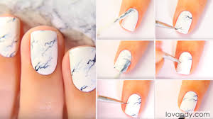 diy how to do white marble nails step by step