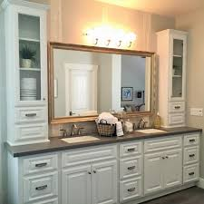 double sink vanity with middle tower double vanity with linen tower developerpanda