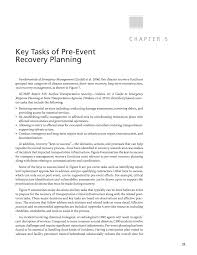 chapter 5 key tasks of pre event recovery planning a pre event