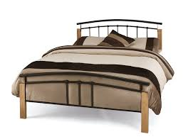 Solid Wood Bed Frame King King Size Solid Wood Bed Frame And Railing Headboard Decofurnish