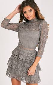 pretty thing dresses caya grey lace panel tiered mini dress dresses