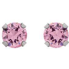inverness earrings rhodium plated 14k yellow 5mm pink cubic zirconia inverness