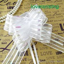 pull bows wholesale 5cm large size white color organza pull bows for wedding car decor