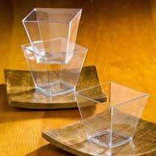 2017 wholesale mini clear square trapezoid dessert cups mousse