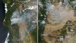 Wildfire Winters California by Nasa Images With Thick Plumes Of Smoke Illustrate Spread Of