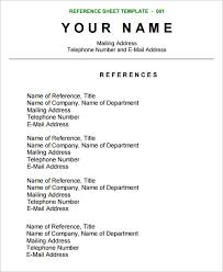 Resume Templates Reference Page Gallery Of 6 List Of References Format How To Make A Reference