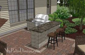 Backyard Brick Patio Design With Grill Station Seating Wall And by Creative Backyard Patio Design With Grill Station Bar 530 Sq Ft