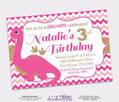 dinosaur birthday invitation pink gold chevron first birthday