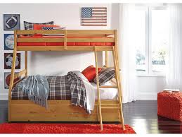 Bunk Bed With Steps Hallytown Light Brown Twin Full Bunk Bed With Ladder Storage