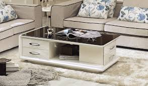 high gloss white lacquer contemporary coffee table with 4 drawers