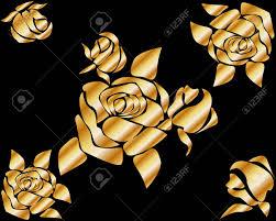 golden roses metal golden roses on a black background outline luxury design
