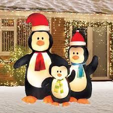 6 airblown merry penguin family