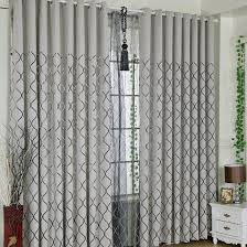 Cool Curtains Modern Style Grey Chenille Fabric Black Lines Pattern Cool Curtains
