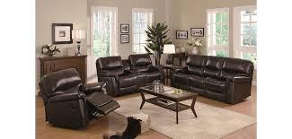 luna 602931 dark brown top grain leather reclining living room set