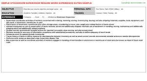 Warehouse Supervisor Resume Samples by Stockroom Supervisor Resume Sample