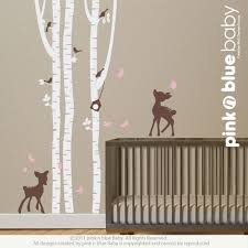 Removable Wall Decals For Nursery Birch Trees With Two Fawns Nursery Removable Wall Vinyl