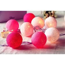 20 pink color scheme cotton ball string led light decorative