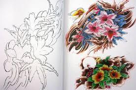 japanese flower tattoo flash book lotus cherry blossoms w line