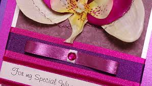 orchid hand made birthday card