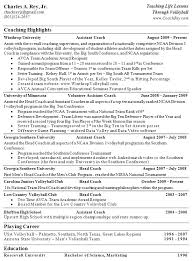Coaching Resume Sample by Volleyball Coach Resume Sample Sample Resume Volleyball Coach
