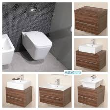 wall hung toilet optional walnut vanity unit white ceramic