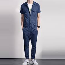 blue jumpsuit mens summer fashion cool mens grey blue sleeve cotton