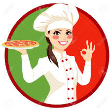 chef pizza italian chef holding pizza and ok sign with