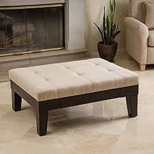 padded coffee table cover amazon com tucson natural fabric storage ottoman coffee table