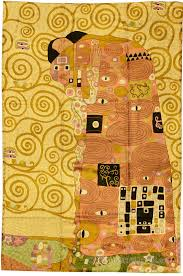 Miro 5ft X 7ft Wool by Klimt Kiss Silk Modern Abstract Rug Wall Art Hand Embroidered