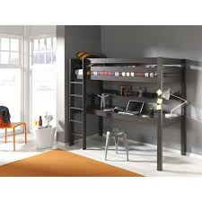 lit superposé bureau pino lit mezzanine 180cm bureau 90x200 cm taupe achat vente