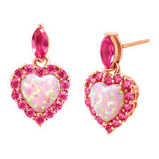 pink earrings 2 ct created opal pink sapphire heart drop earrings in 18k