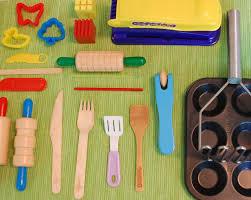 homemade play kitchen ideas playdough tools tinkerlab