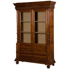 French Antique Bookcase French Antique Walnut Display Cabinet Bookcase Shallow Depth
