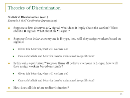 1 theories of discrimination 2 what do we generally mean by
