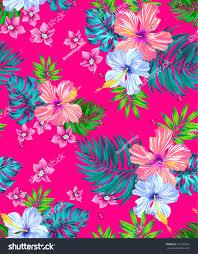 Tropical Design Seamless Vector Tropical Design Hibiscus Frangipani Stock Vector