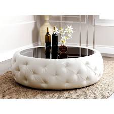 abbyson havana round leather coffee table white leather coffee