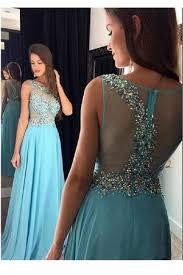 sheer illusion sleeveless beading prom dress a line chiffon prom