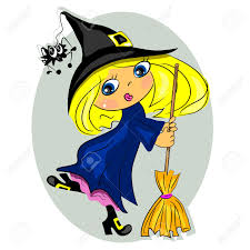 halloween witch dancing with broom black hat with spider royalty
