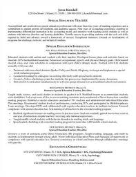 Special Education Resume Examples by More Special Education Teacher Resume Templates