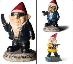 angry little garden gnome with machine gun the gnominator