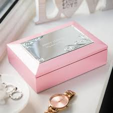baptism jewelry box personalised pink musical jewellery box gettingpersonal co uk