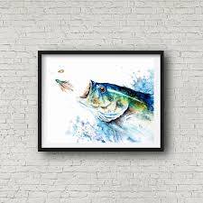 large mouth bass fish print sport fish print zoom