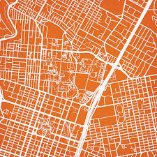 Texas Map Austin by University Of Texas At Austin Campus Map Art City Prints