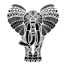 black stylized elephant stock vector image of ornament 65514532
