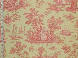 pink green toile fabric french country from brick house fabric