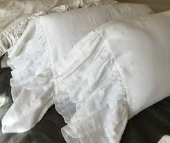 white linen pillow covers with mermaid long ruffles handcrafted