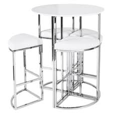 white pub table set orbit bar table and four chair set white by dwell olioboard